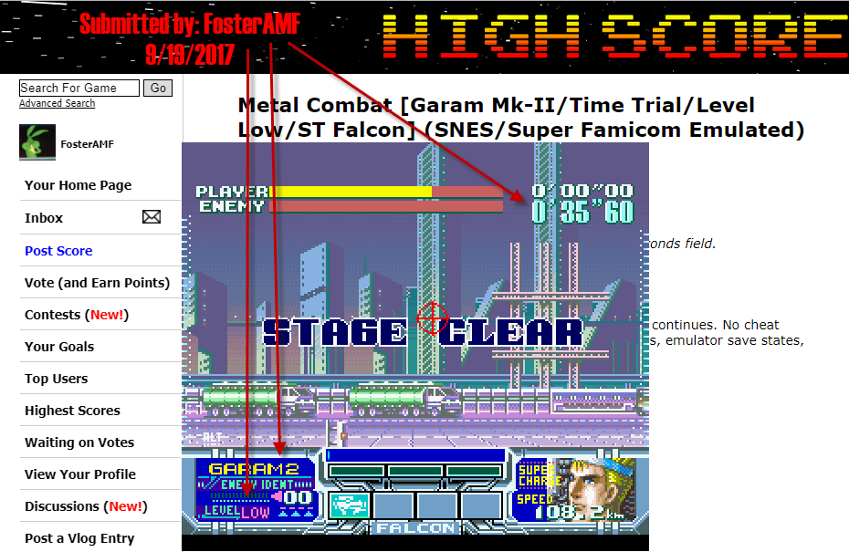 FosterAMF: Metal Combat [Garam Mk-II/Time Trial/Level Low/ST Falcon] (SNES/Super Famicom Emulated) 0:00:35.6 points on 2017-09-19 15:43:35