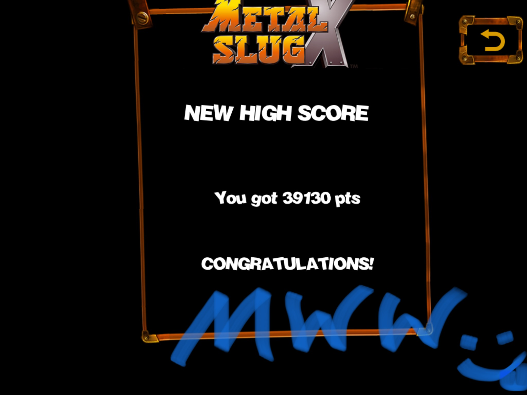 D3fk0nZ3r0: Metal Slug X (iOS) 39,130 points on 2018-08-09 22:09:22