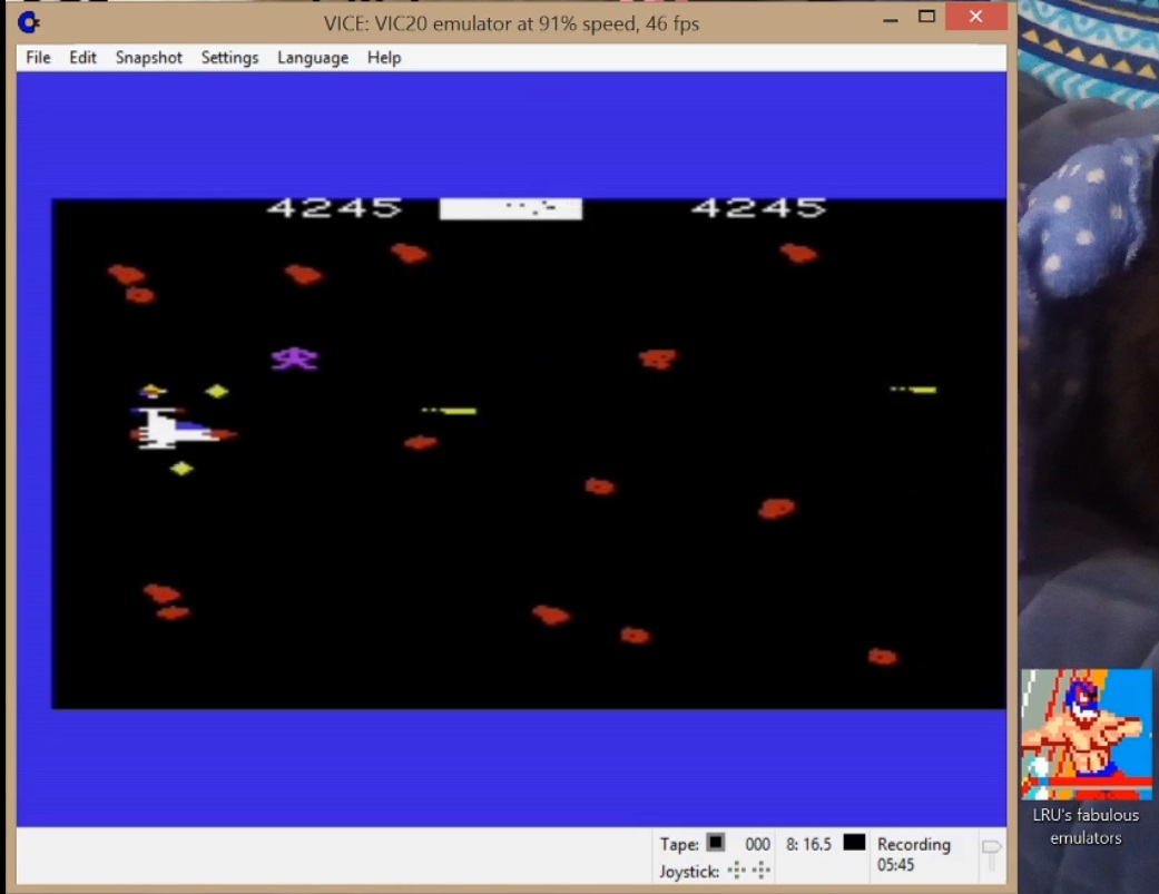 LuigiRuffolo: Meteor Run (Commodore VIC-20 Emulated) 4,245 points on 2020-07-12 08:13:05