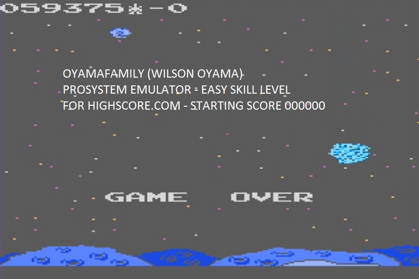oyamafamily: Meteor Shower: Easy (Atari 7800 Emulated) 59,375 points on 2015-10-07 20:20:52