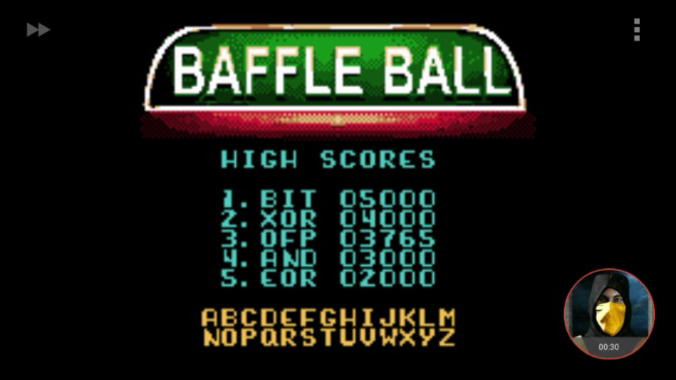 omargeddon: Microsoft Pinball Arcade: Baffle Ball (Game Boy Color Emulated) 3,765 points on 2018-01-29 16:06:23
