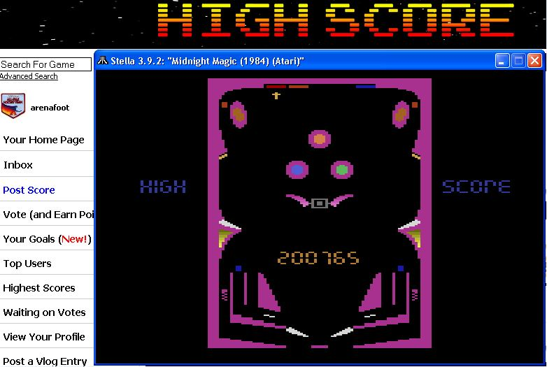 arenafoot: Midnight Magic (Atari 2600 Emulated Novice/B Mode) 200,765 points on 2016-02-19 20:17:37