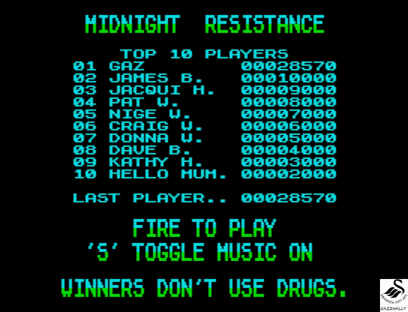 gazzhally: Midnight Resistance (ZX Spectrum Emulated) 28,570 points on 2017-07-03 05:50:19