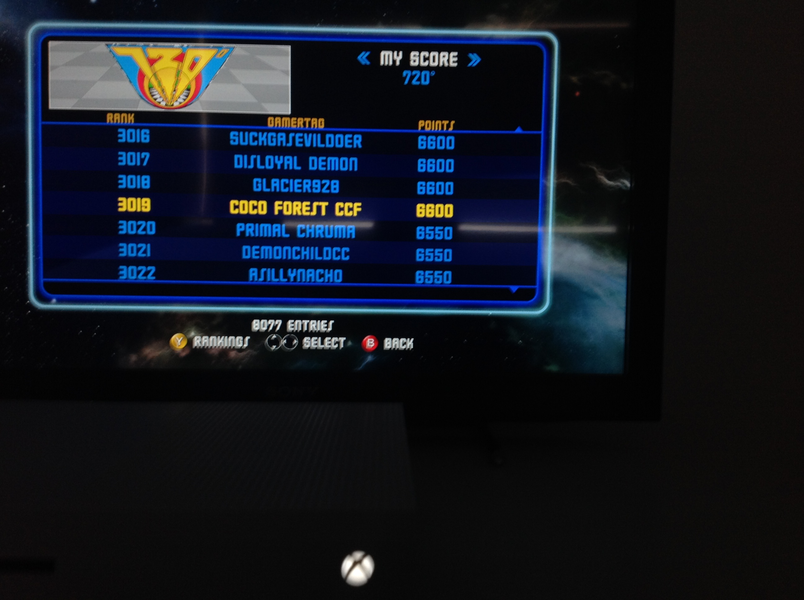 CoCoForest: Midway Arcade Origins: 720 (Xbox 360) 6,600 points on 2019-06-01 01:42:47