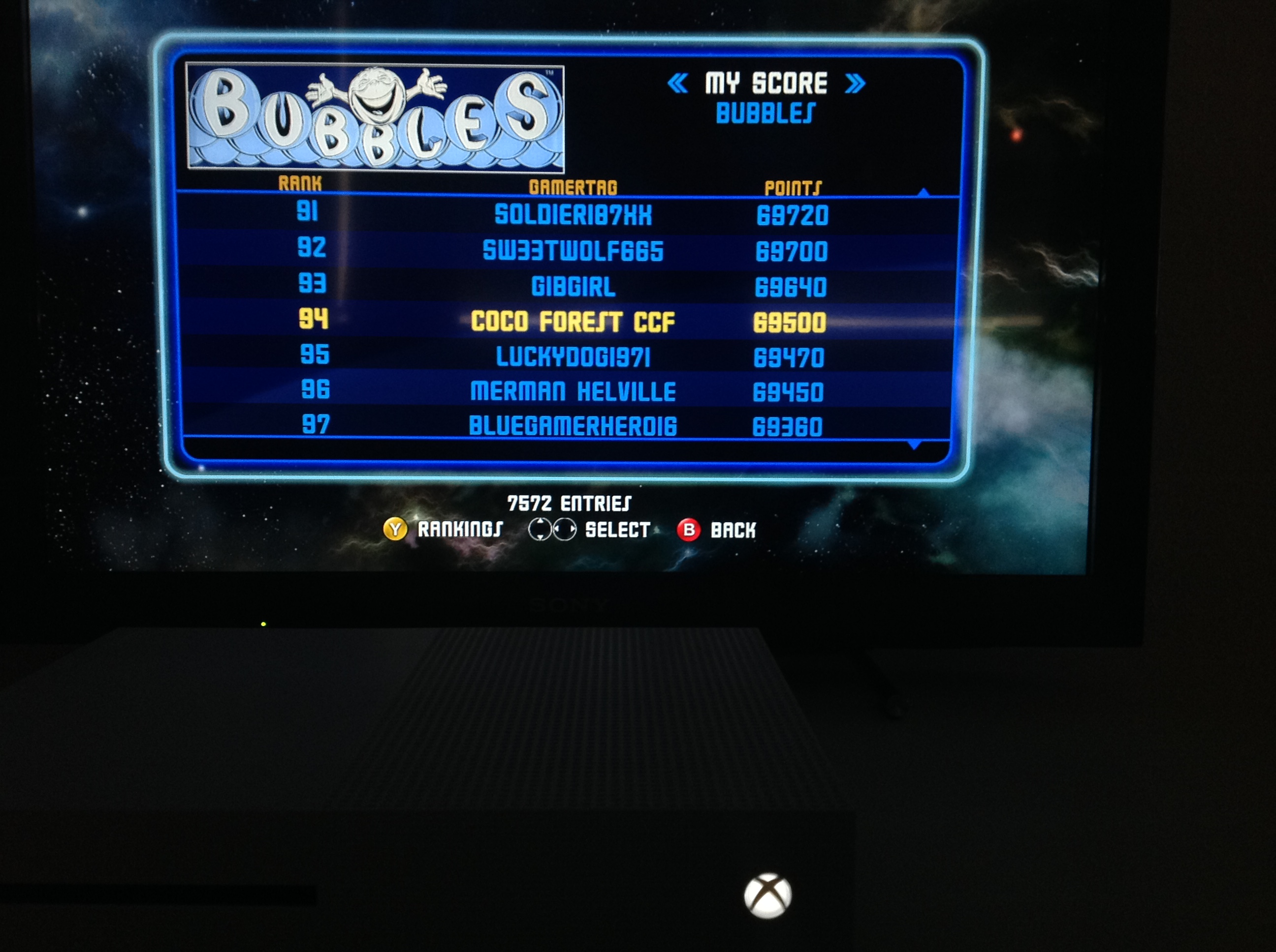CoCoForest: Midway Arcade Origins: Bubbles (Xbox 360) 69,500 points on 2019-05-25 12:57:53