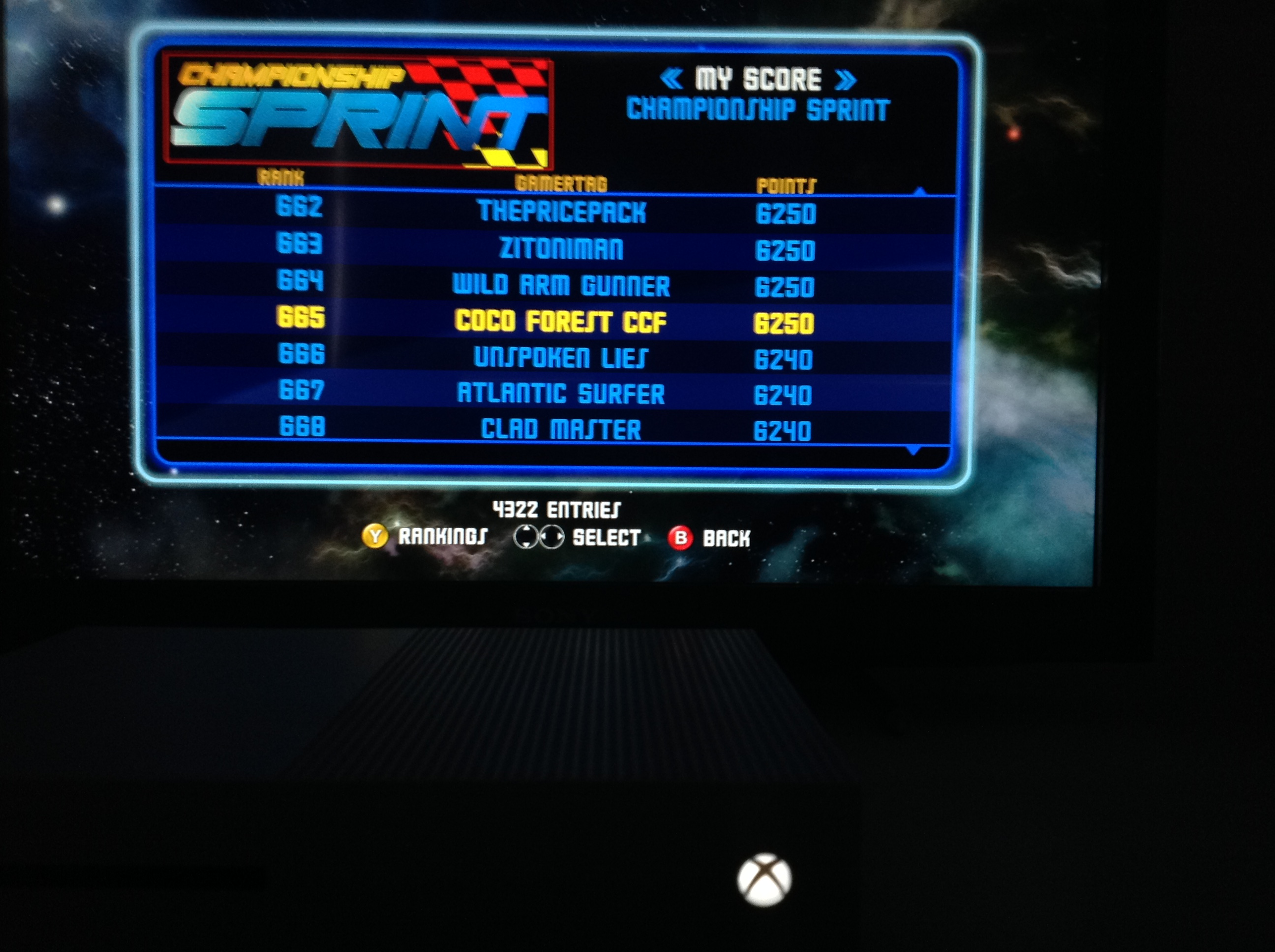 CoCoForest: Midway Arcade Origins: Championship Sprint (Xbox 360) 6,250 points on 2019-05-26 14:28:33