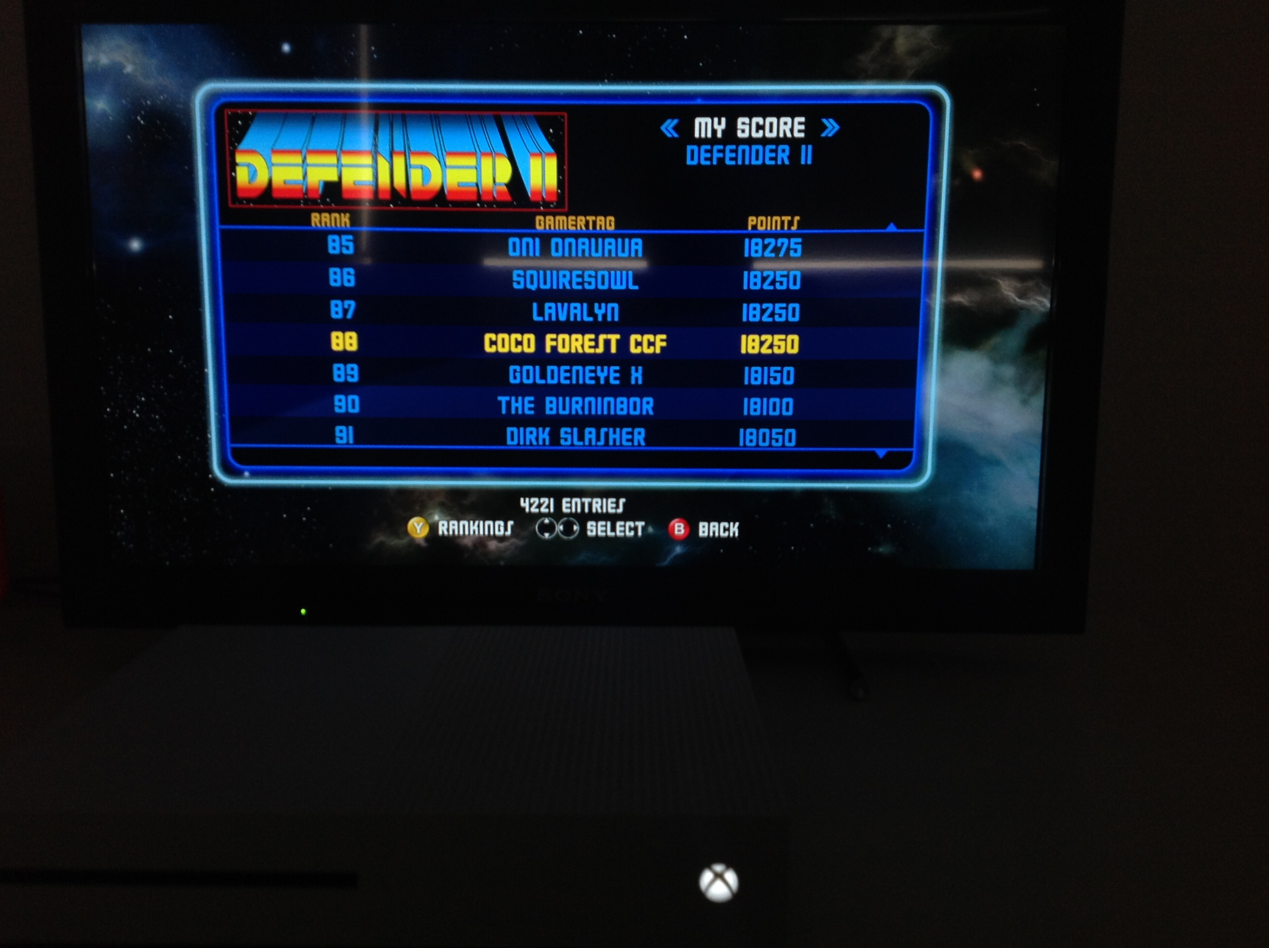 CoCoForest: Midway Arcade Origins: Defender II (Xbox 360) 18,250 points on 2019-05-24 12:38:56