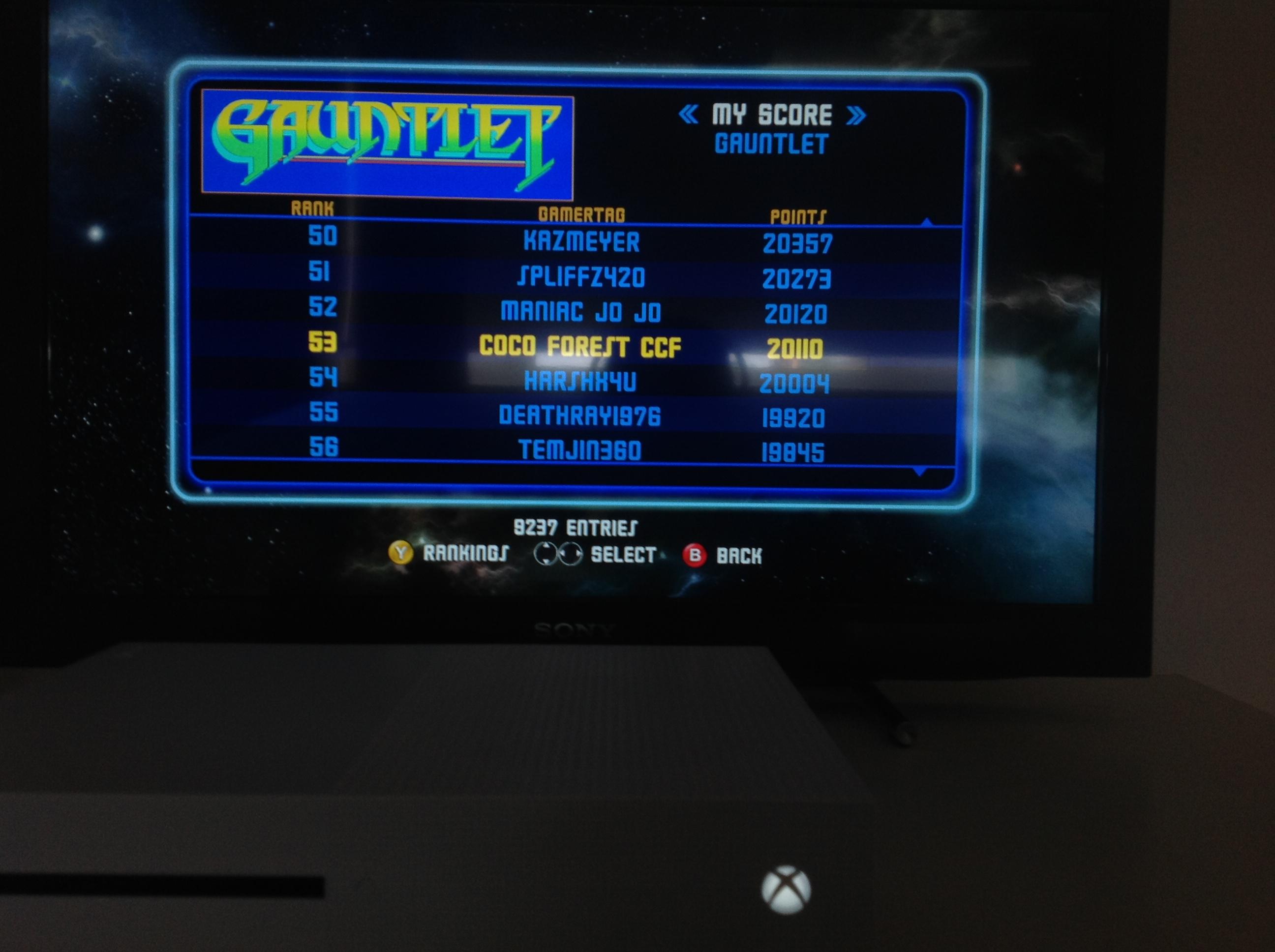 CoCoForest: Midway Arcade Origins: Gauntlet [Medium] (Xbox 360) 20,110 points on 2019-05-27 02:06:53