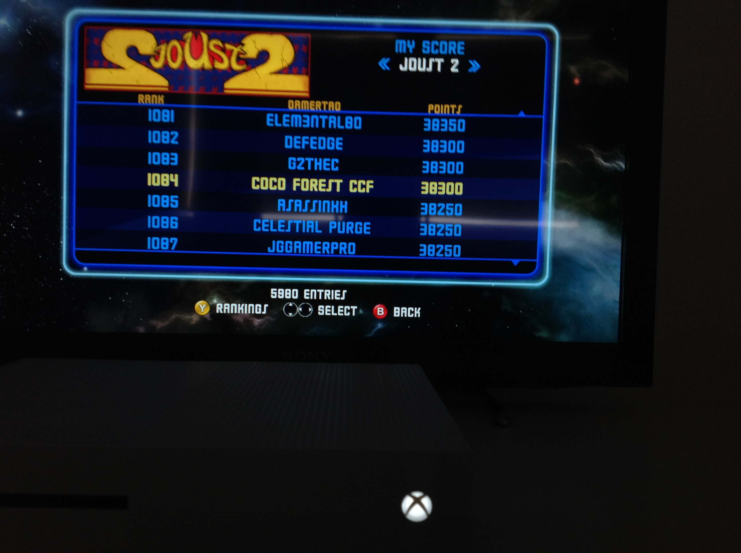 CoCoForest: Midway Arcade Origins: Joust II (Xbox 360) 38,300 points on 2019-05-26 01:50:15