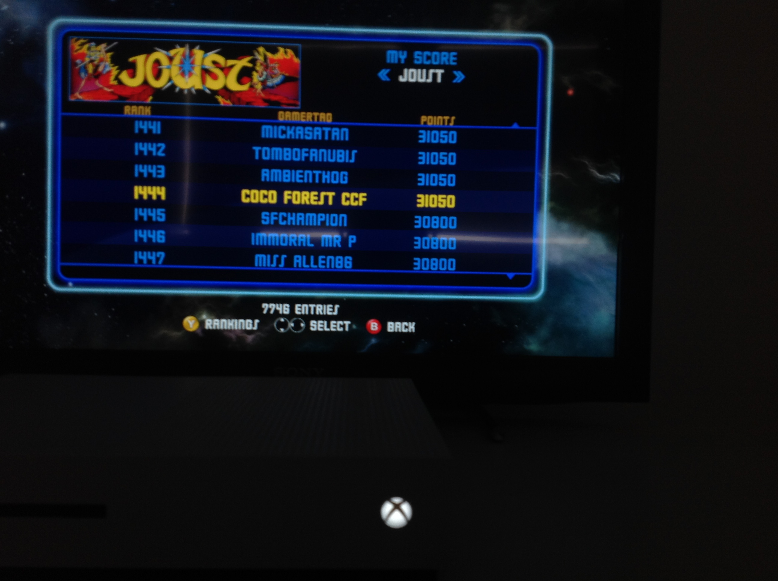 CoCoForest: Midway Arcade Origins: Joust (Xbox 360) 31,050 points on 2019-05-26 01:46:33