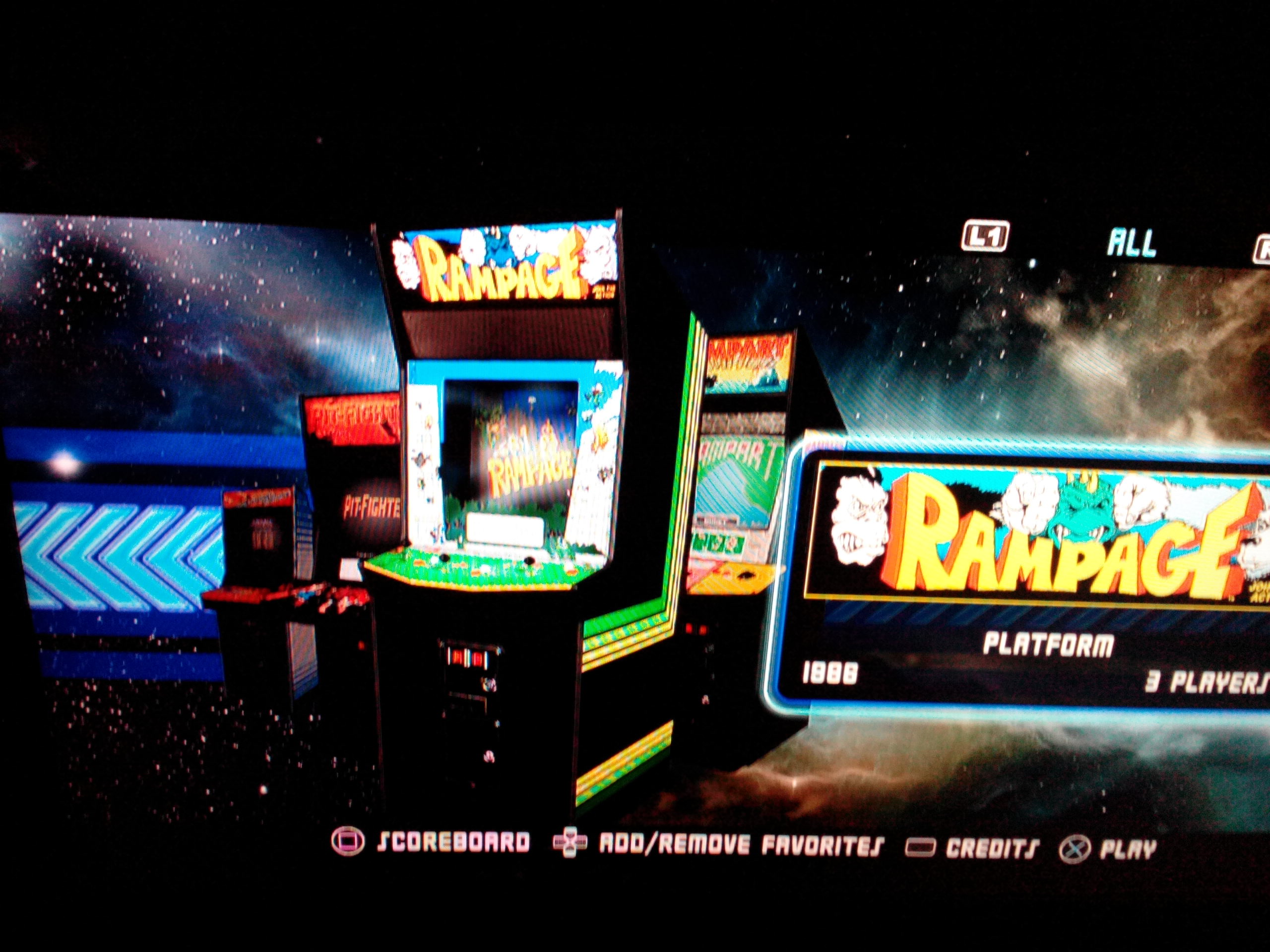 Midway Arcade Origins: Rampage 122,575 points