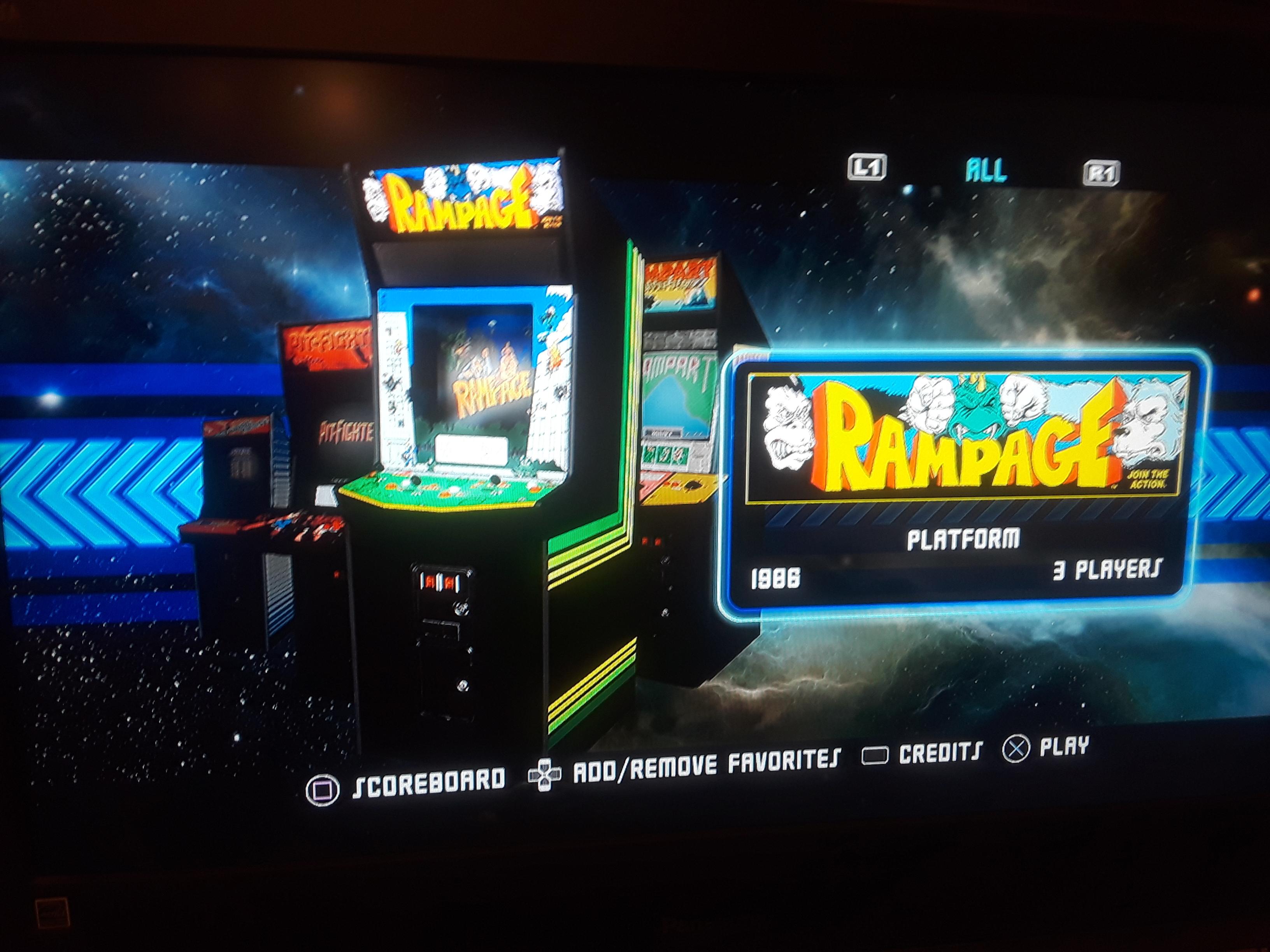 Midway Arcade Origins: Rampage 135,975 points