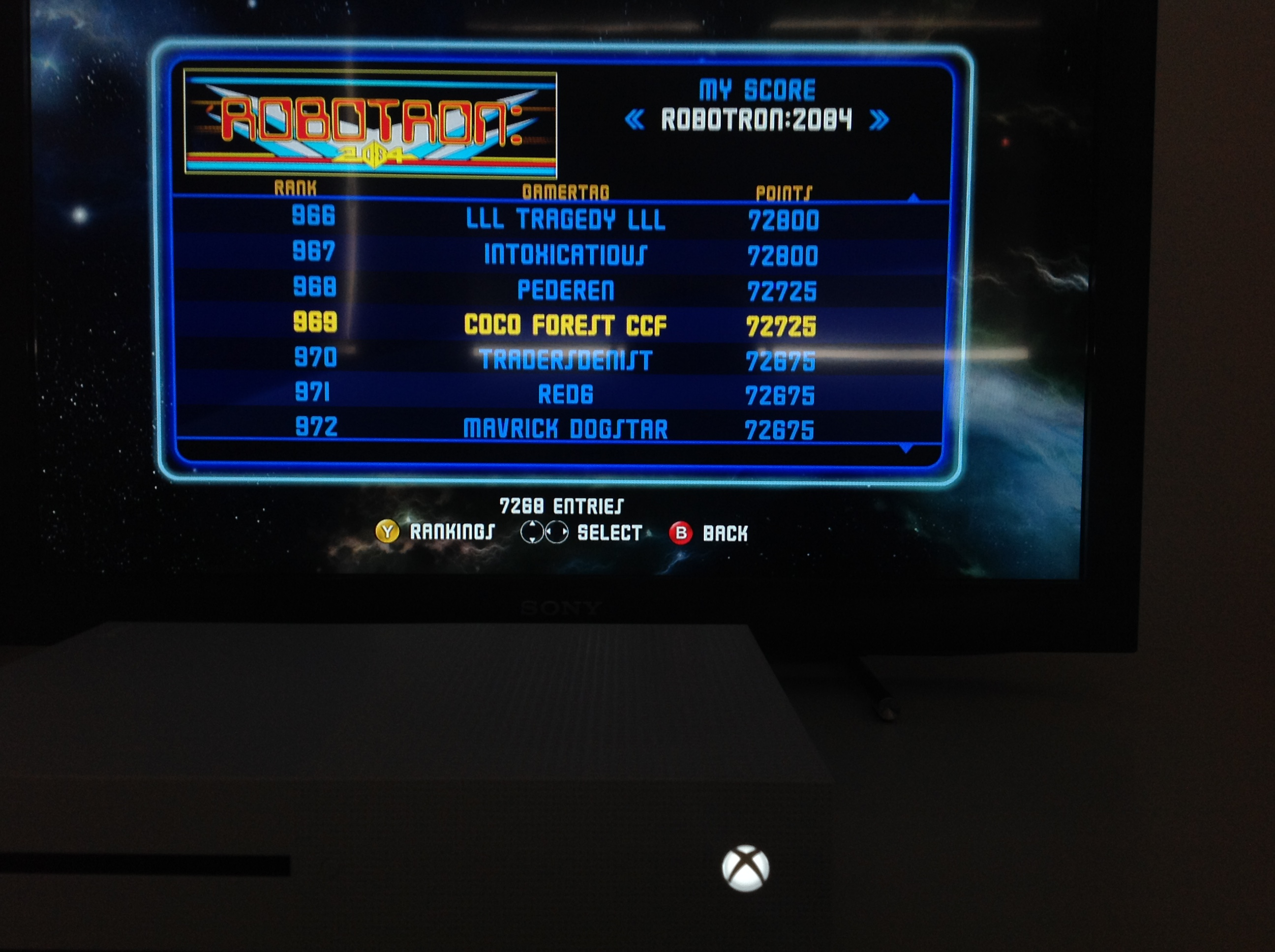CoCoForest: Midway Arcade Origins: Robotron 2084 (Xbox 360) 72,725 points on 2019-05-26 06:25:31