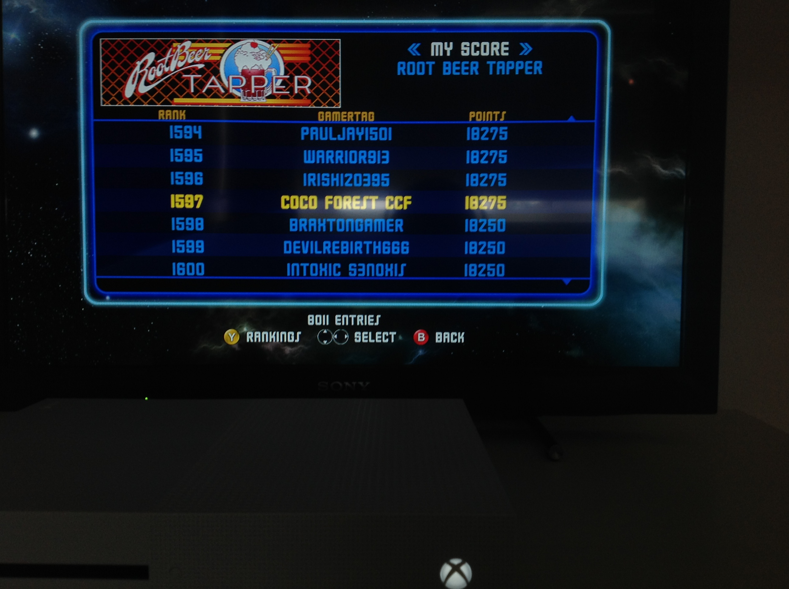 CoCoForest: Midway Arcade Origins: Root Beer Tapper (Xbox 360) 18,275 points on 2019-05-27 02:59:29