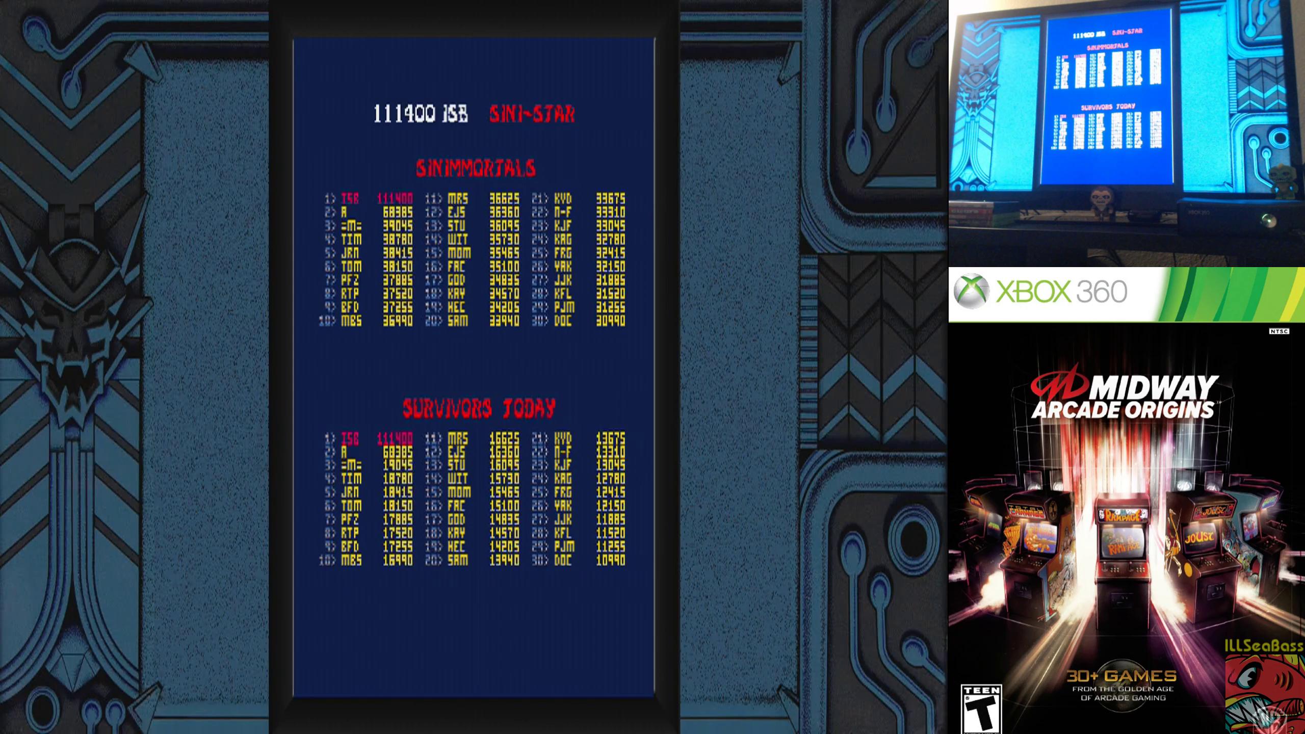ILLSeaBass: Midway Arcade Origins: Sinistar (Xbox 360) 111,400 points on 2019-10-10 12:40:12