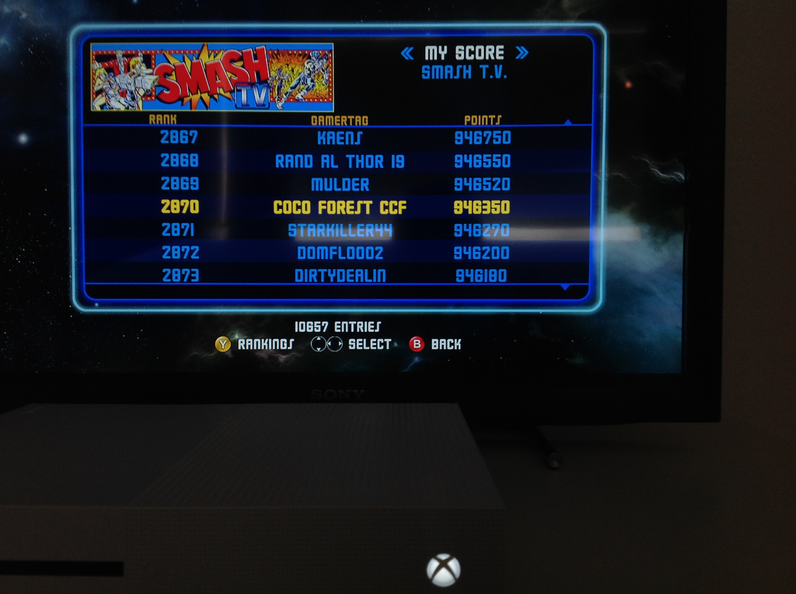 CoCoForest: Midway Arcade Origins: Smash TV (Xbox 360) 946,350 points on 2019-05-31 03:02:19