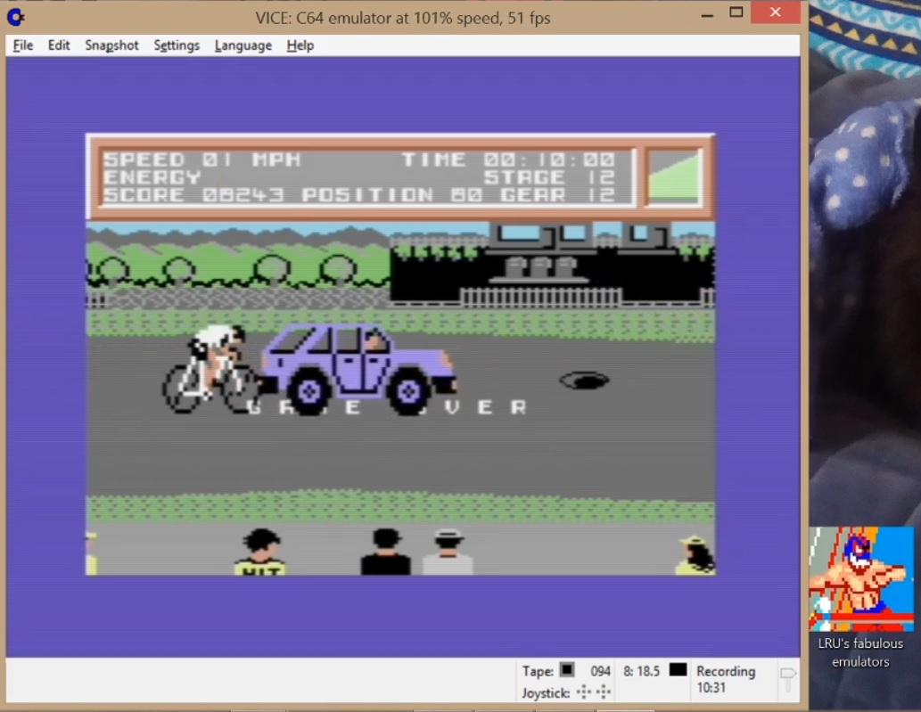 LuigiRuffolo: Milk Race (Commodore 64 Emulated) 8,243 points on 2020-07-20 06:20:28