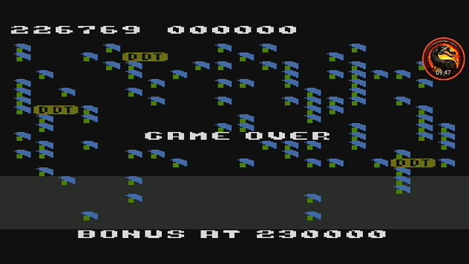 omargeddon: Millipede [Any Start / Continues Allowed] (Atari 400/800/XL/XE Emulated) 226,769 points on 2020-09-13 22:26:19