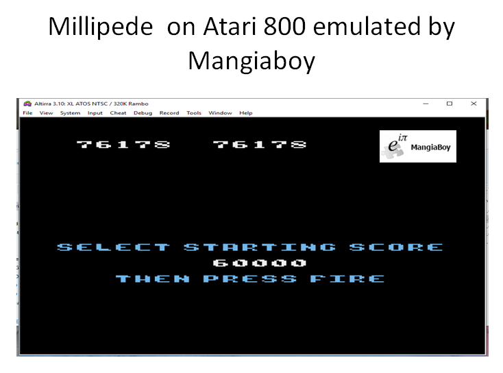 MangiaBoy: Millipede [Any Start / Continues Allowed] (Atari 400/800/XL/XE Emulated) 76,178 points on 2018-12-26 12:34:12
