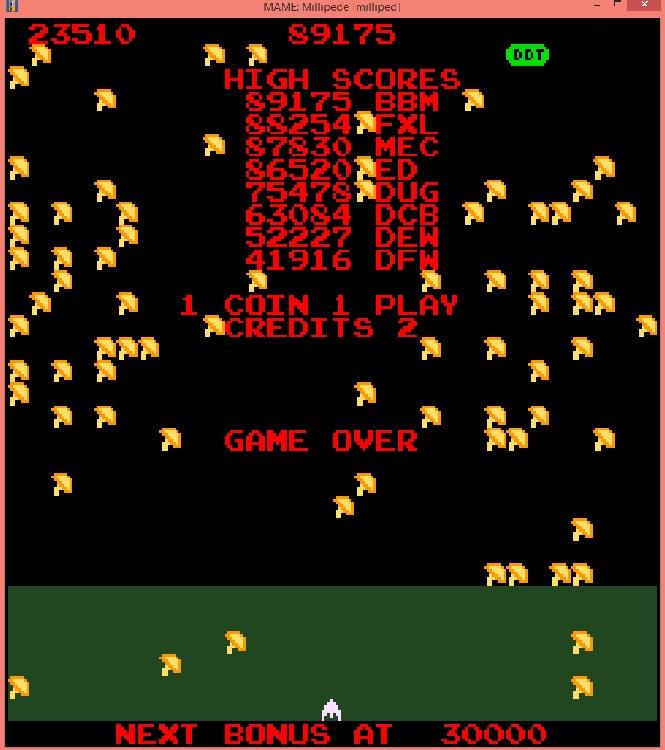 lenny2571: Millipede (Arcade Emulated / M.A.M.E.) 23,510 points on 2015-12-06 05:01:36