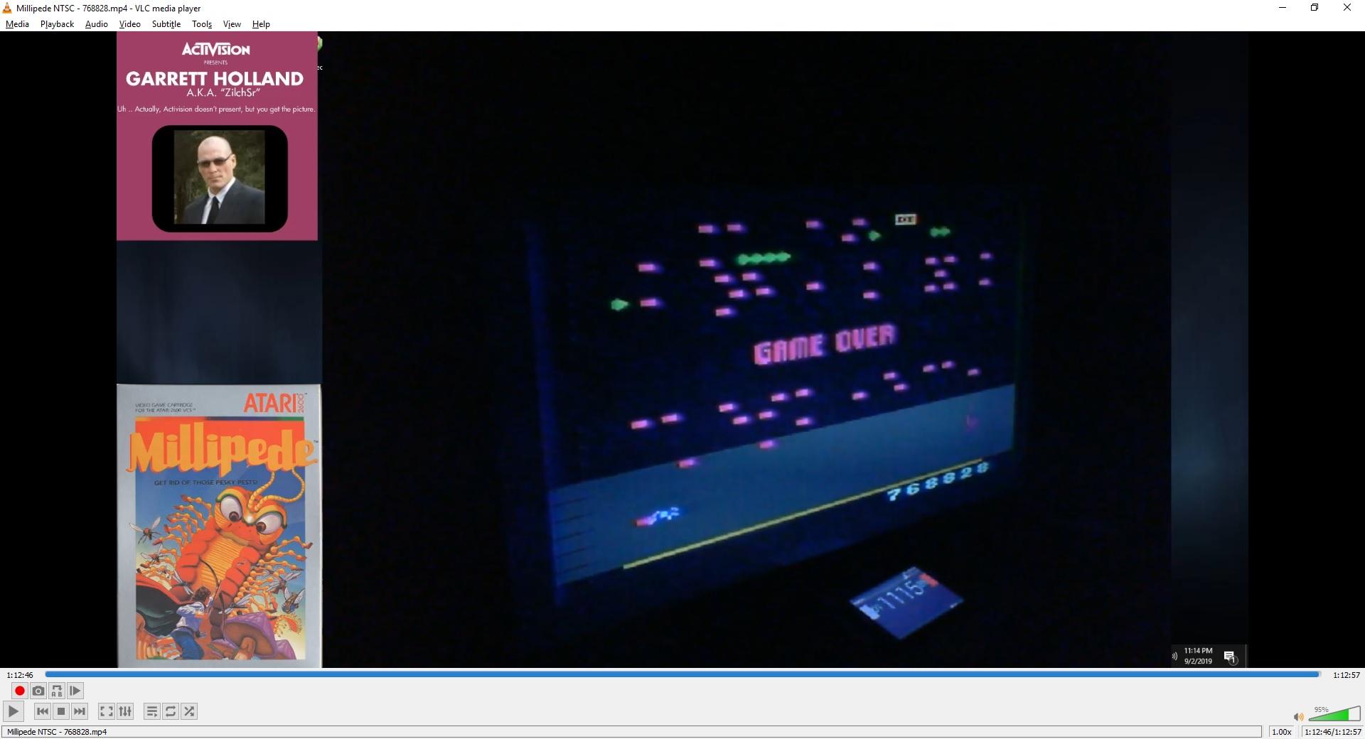 ZilchSr: Millipede (Atari 2600 Novice/B) 768,828 points on 2019-09-29 16:44:18