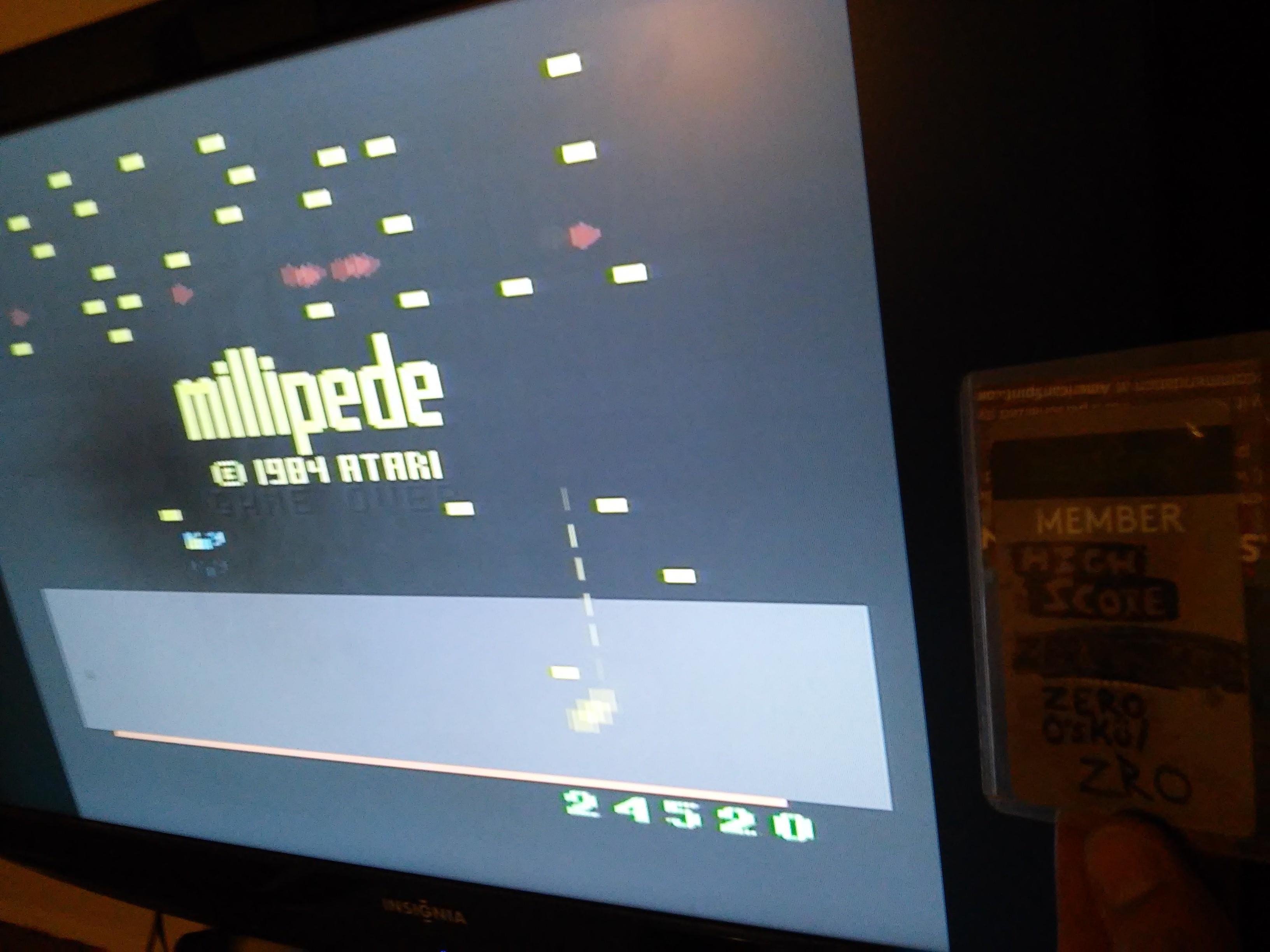 zerooskul: Millipede (Atari 2600 Emulated Expert/A Mode) 24,520 points on 2020-02-13 20:11:46