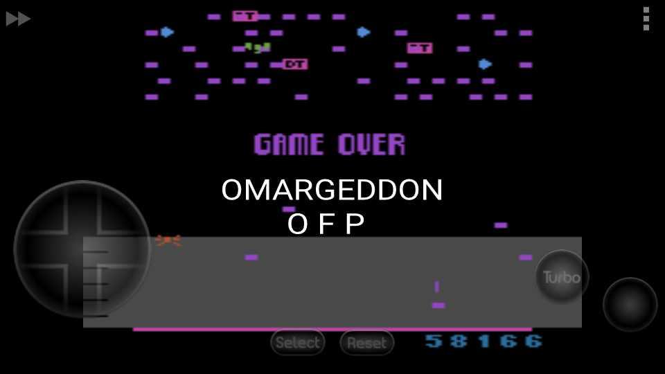 omargeddon: Millipede (Atari 2600 Emulated Novice/B Mode) 58,166 points on 2016-11-10 15:50:15