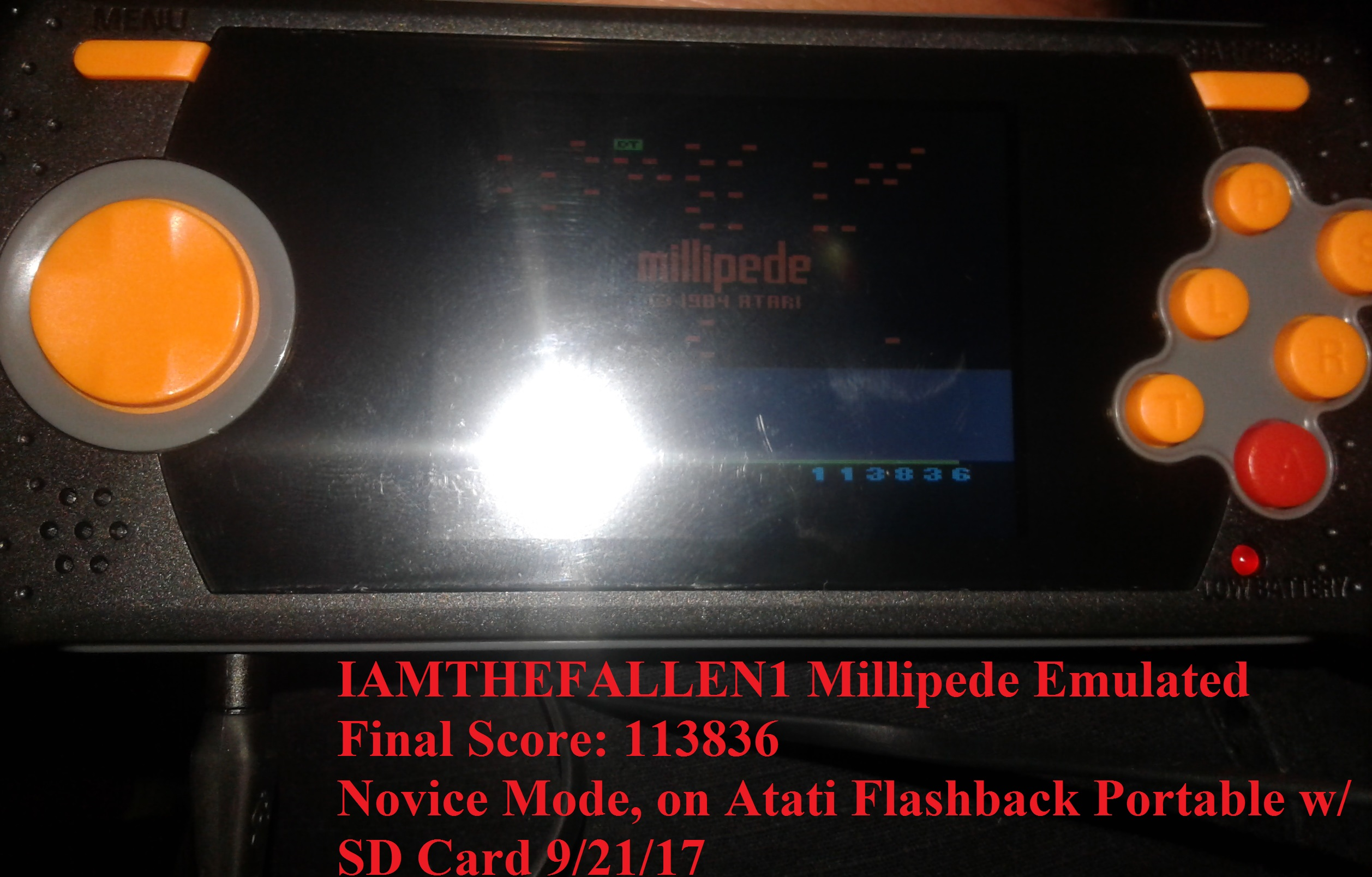 iamthefallen1: Millipede (Atari 2600 Emulated Novice/B Mode) 113,836 points on 2017-09-23 20:22:38