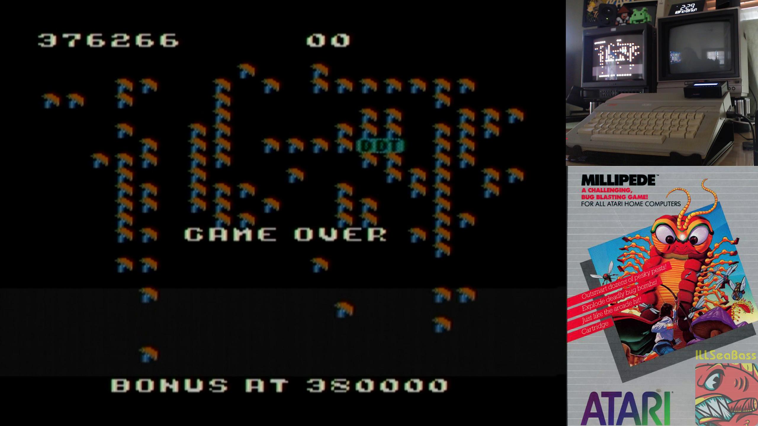 ILLSeaBass: Millipede (Atari 400/800/XL/XE) 376,266 points on 2018-12-09 15:51:29