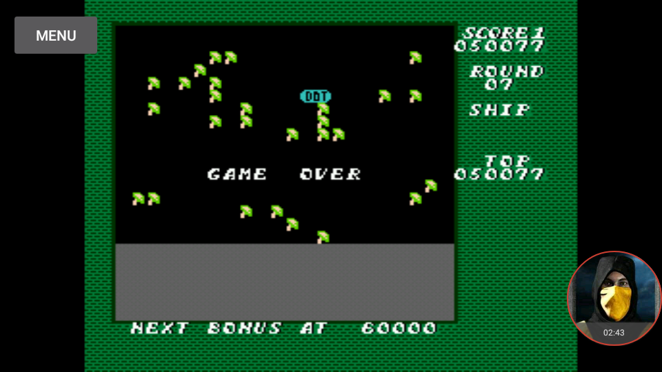 omargeddon: Millipede: Game B (NES/Famicom Emulated) 50,077 points on 2018-01-20 16:15:53