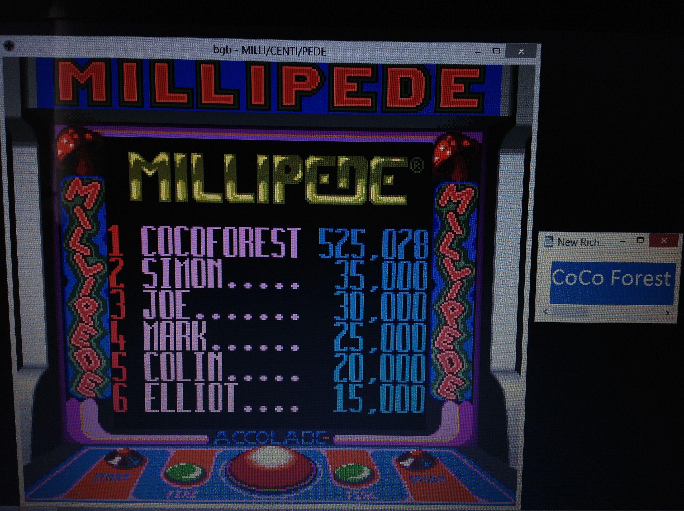 CoCoForest: Millipede (Game Boy Emulated) 525,078 points on 2018-10-08 11:01:54