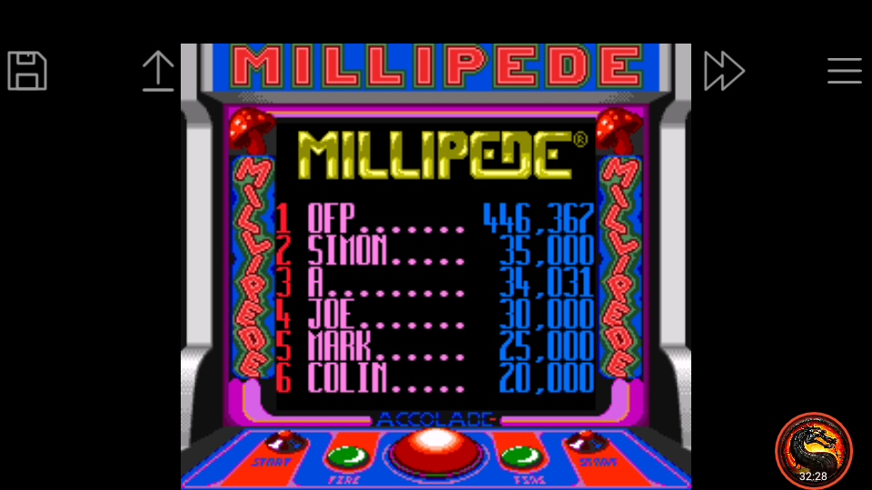 omargeddon: Millipede (Game Boy Emulated) 446,362 points on 2020-07-03 21:55:51