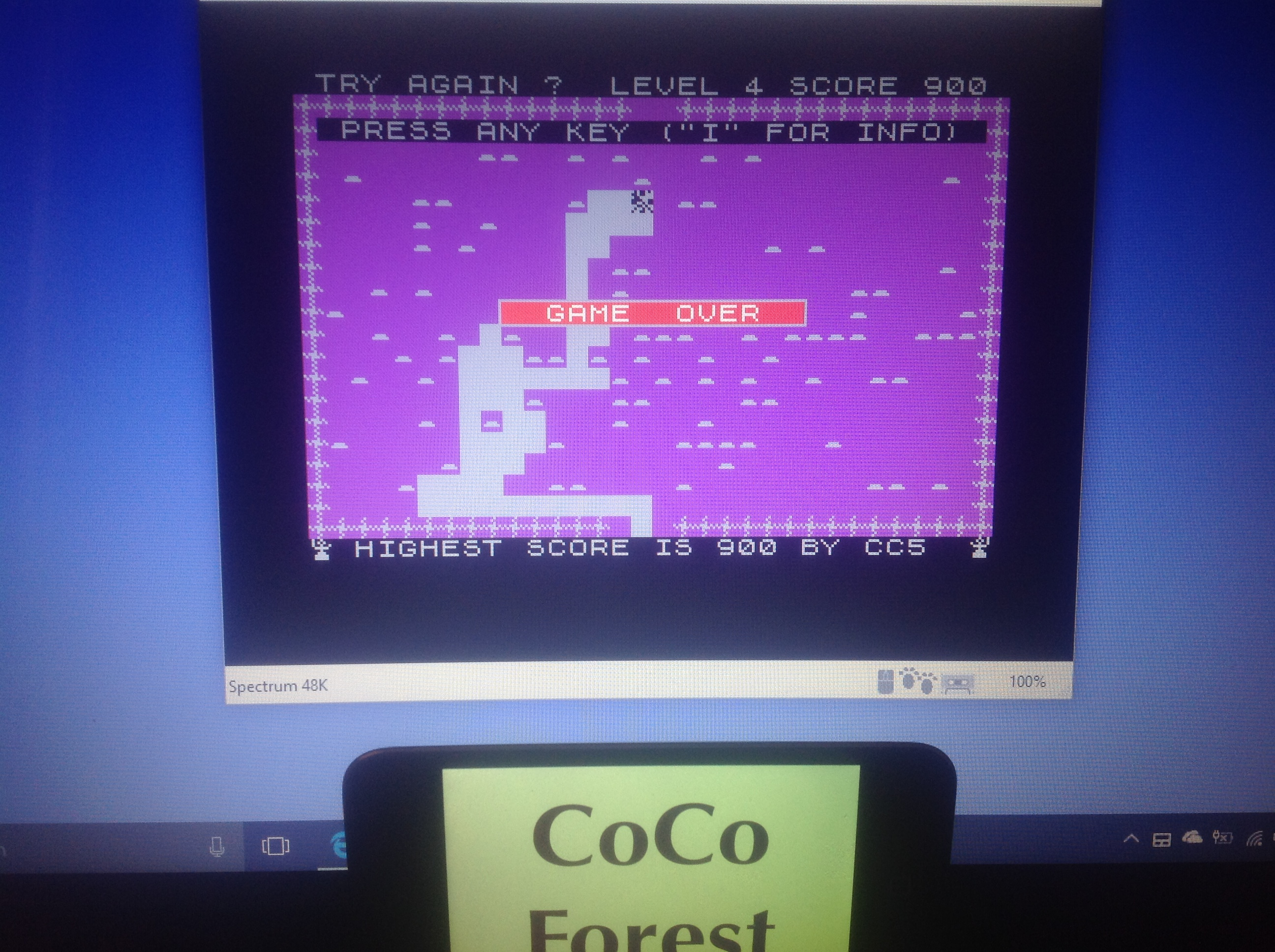 CoCoForest: Mined-Out (ZX Spectrum Emulated) 900 points on 2018-01-17 03:49:19