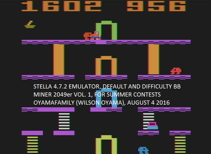 oyamafamily: Miner 2049er (Atari 2600 Emulated Novice/B Mode) 1,602 points on 2016-08-04 20:27:20