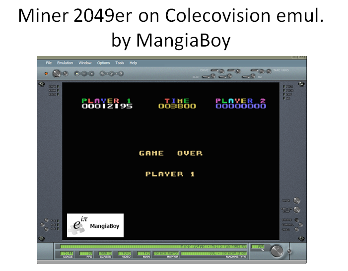 MangiaBoy: Miner 2049er (Colecovision Emulated) 12,195 points on 2016-03-26 14:57:41