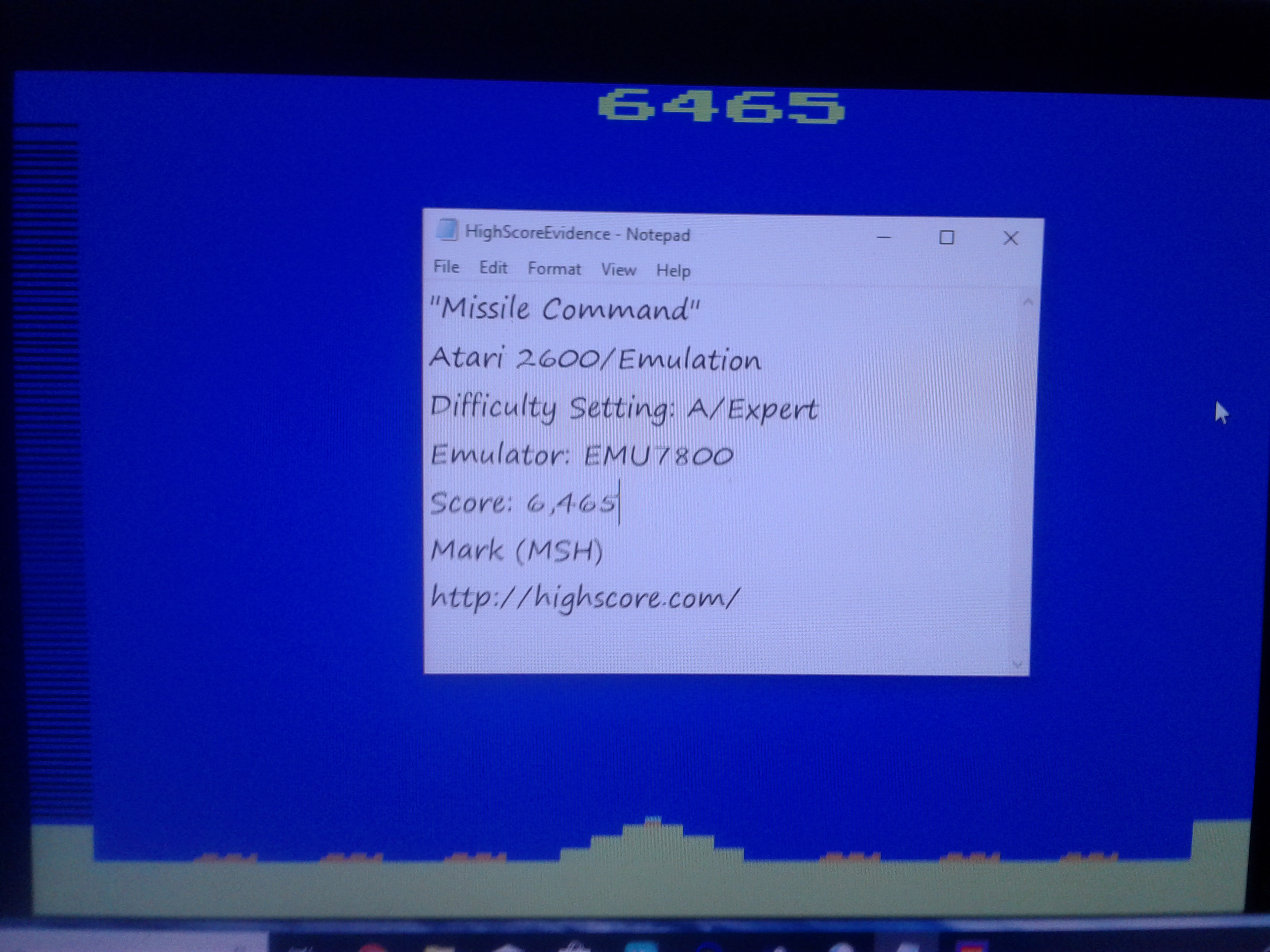 Mark: Missile Command (Atari 2600 Emulated Expert/A Mode) 6,465 points on 2019-01-11 03:23:02