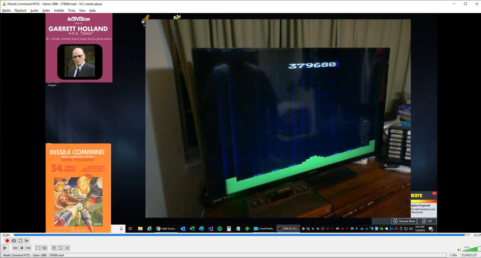 ZilchSr: Missile Command: Game 16 (Atari 2600 Novice/B) 379,680 points on 2019-07-04 01:12:34