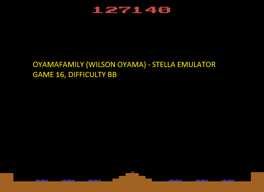 oyamafamily: Missile Command: Game 16 (Atari 2600 Emulated Novice/B Mode) 127,140 points on 2016-06-18 19:40:23