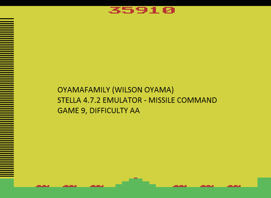 oyamafamily: Missile Command: Game 9 (Atari 2600 Emulated Expert/A Mode) 35,910 points on 2017-01-02 17:41:20