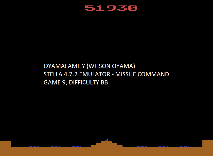oyamafamily: Missile Command: Game 9 (Atari 2600 Emulated Novice/B Mode) 51,930 points on 2017-01-02 17:41:06