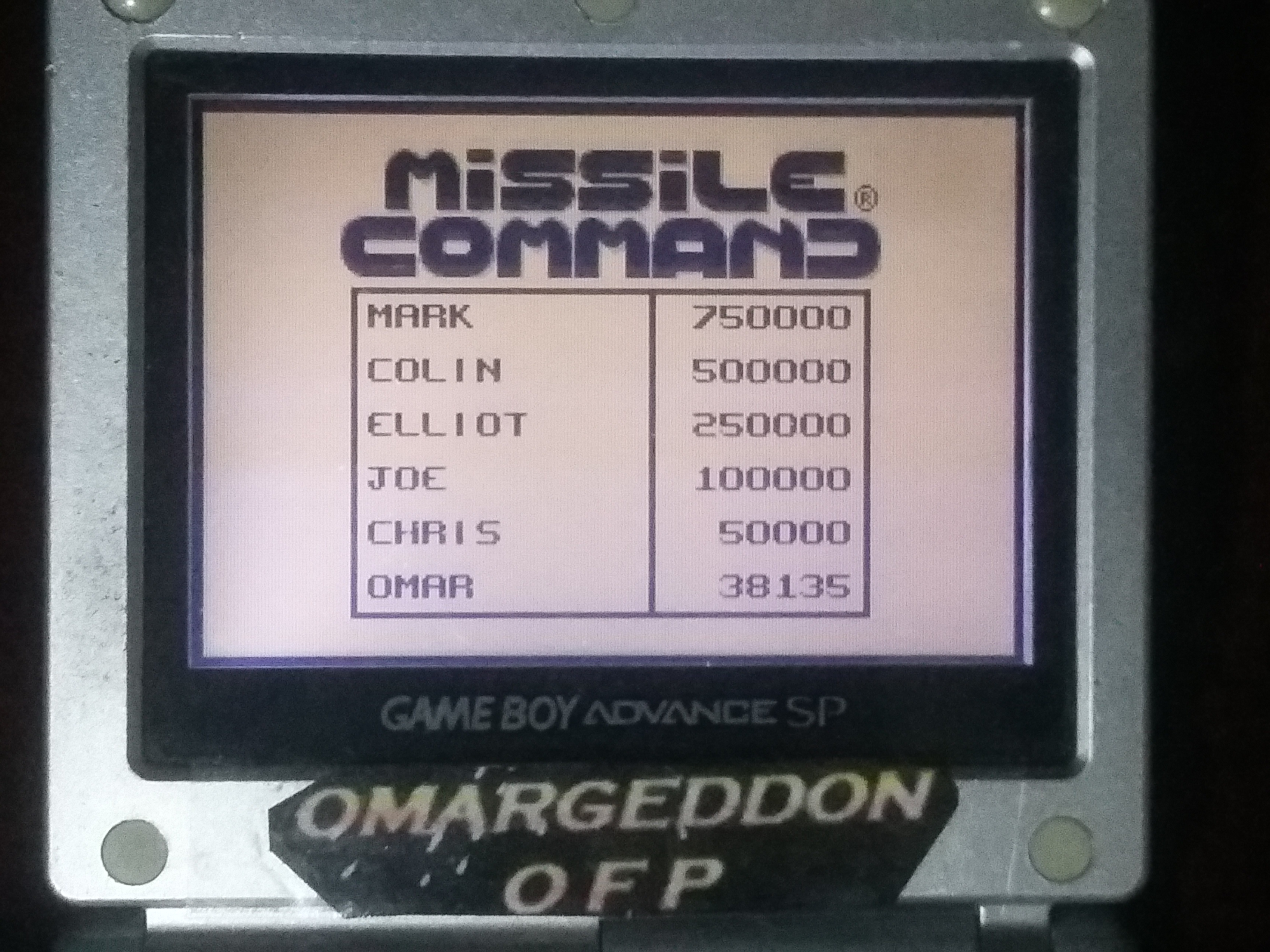 omargeddon: Missile Command (Game Boy) 38,135 points on 2018-01-15 00:23:59