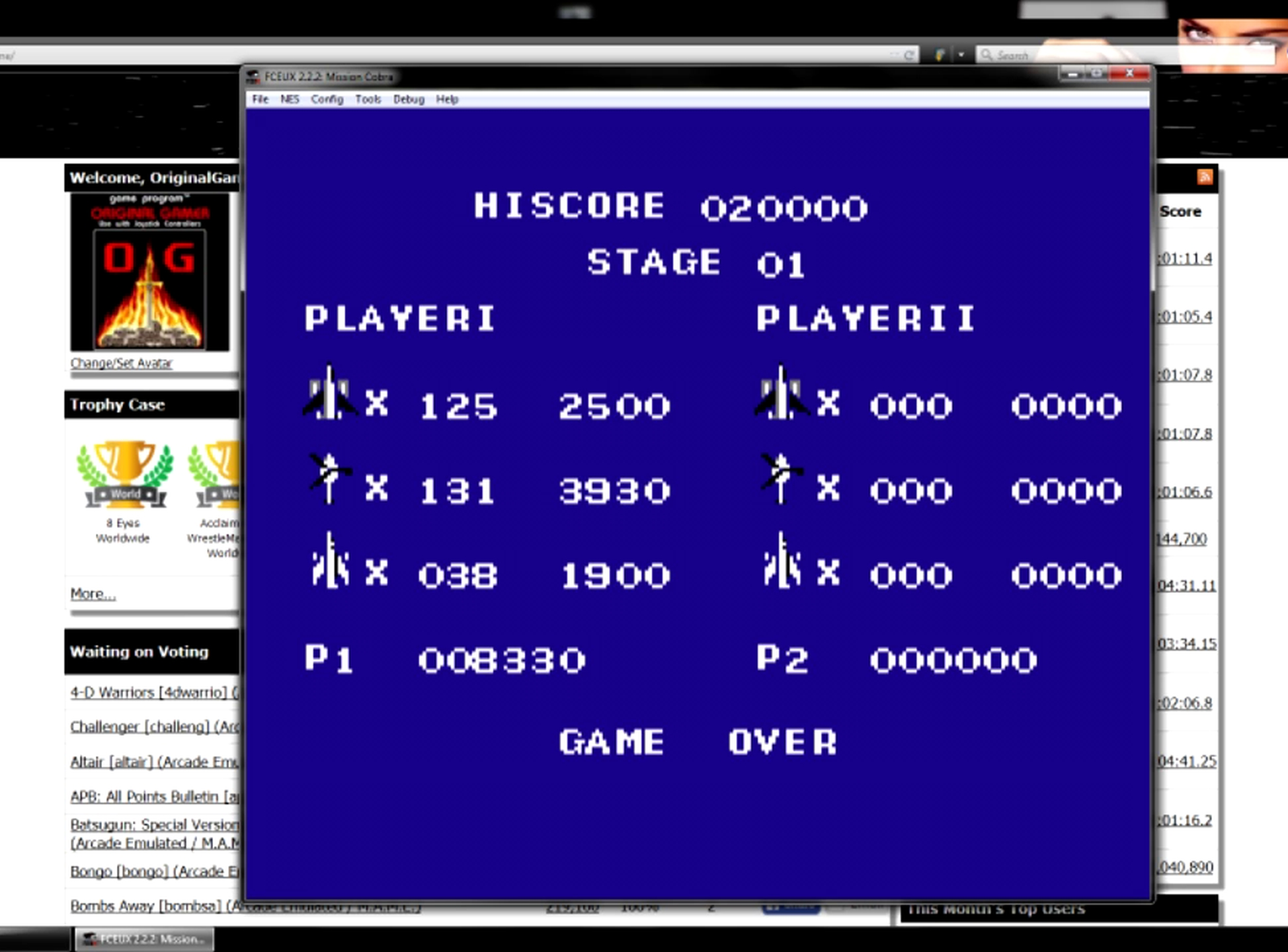 OriginalGamer: Mission Cobra (NES/Famicom Emulated) 8,330 points on 2015-06-20 18:41:08