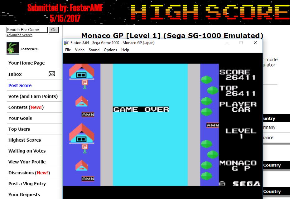 FosterAMF: Monaco GP [Level 1] (Sega SG-1000 Emulated) 26,411 points on 2017-05-15 12:01:02
