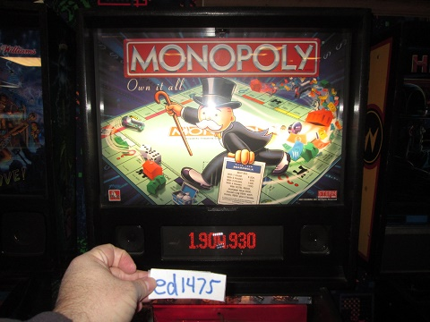 ed1475: Monopoly (Pinball: 3 Balls) 1,904,930 points on 2017-02-12 15:56:51