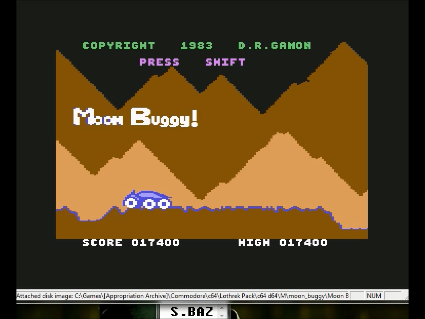 S.BAZ: Moon Buggy [Anirog Software] (Commodore 64 Emulated) 17,400 points on 2016-05-30 15:04:22