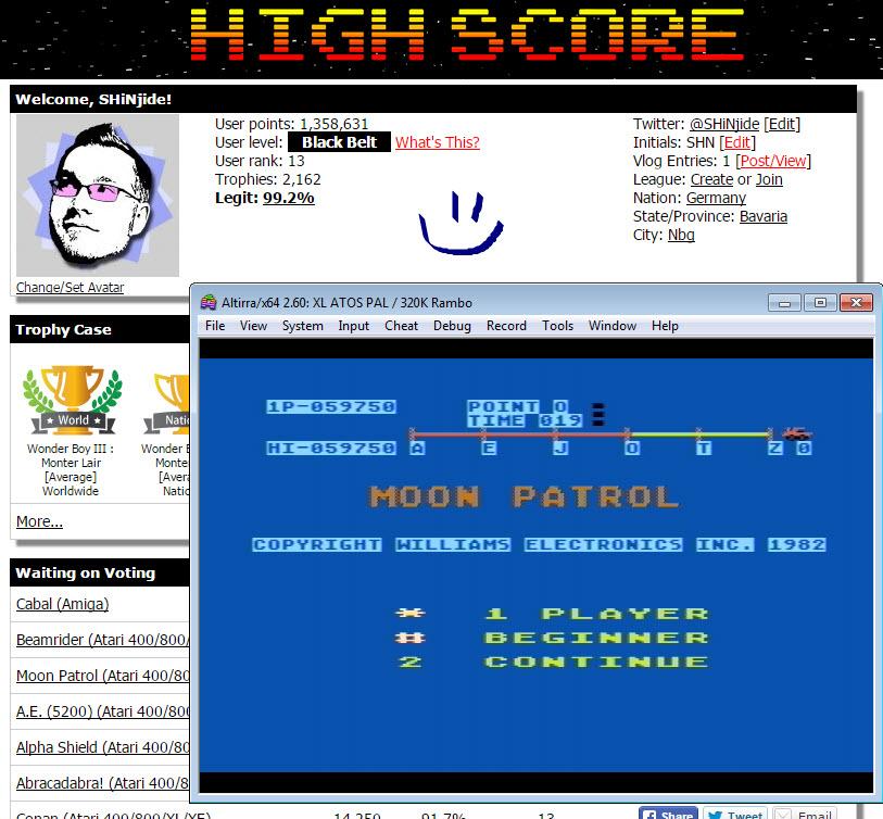 SHiNjide: Moon Patrol (Atari 400/800/XL/XE Emulated) 59,750 points on 2015-10-21 06:31:59