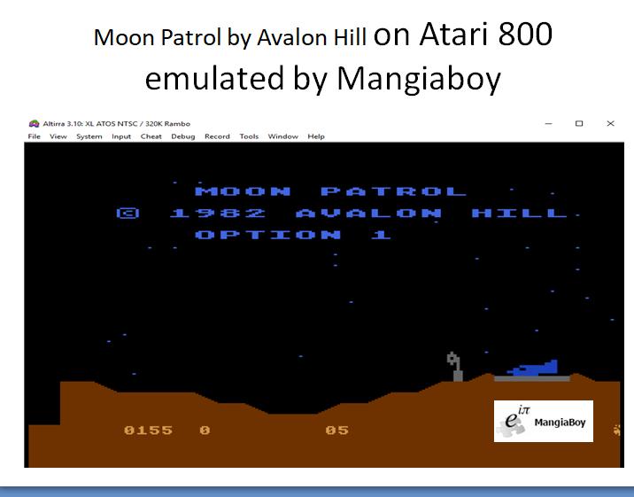MangiaBoy: Moon Patrol [Avalon Hill] [Option 1] (Atari 400/800/XL/XE Emulated) 155 points on 2018-12-26 12:34:53