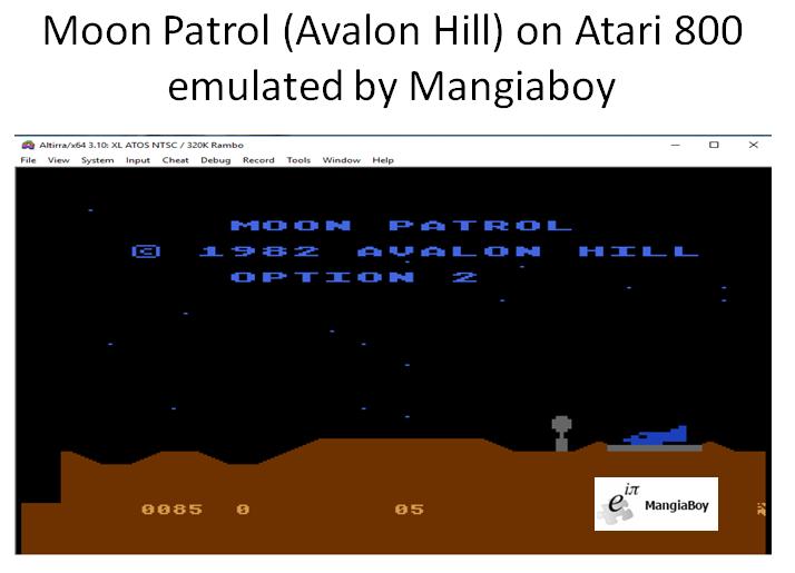 MangiaBoy: Moon Patrol [Avalon Hill] [Option 2] (Atari 400/800/XL/XE Emulated) 85 points on 2018-12-28 20:40:16