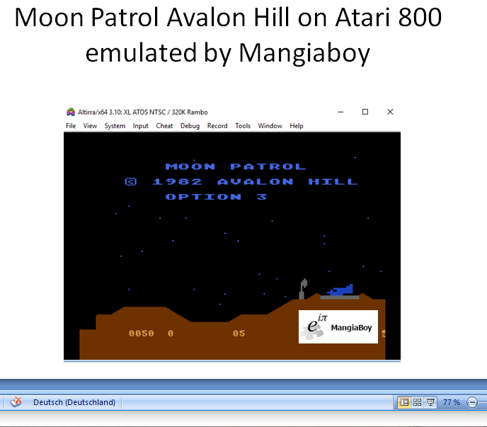 MangiaBoy: Moon Patrol [Avalon Hill] [Option 3] (Atari 400/800/XL/XE Emulated) 50 points on 2019-01-01 05:35:57