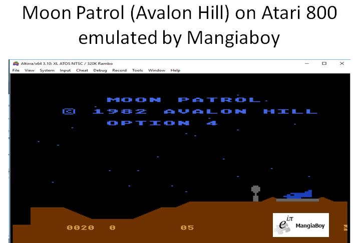 MangiaBoy: Moon Patrol [Avalon Hill] [Option 4] (Atari 400/800/XL/XE Emulated) 20 points on 2018-12-29 08:04:20